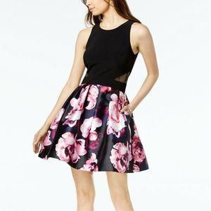 Xscape Dresses - XSCAPE Womens Black Floral Print Fit + Flare Dress